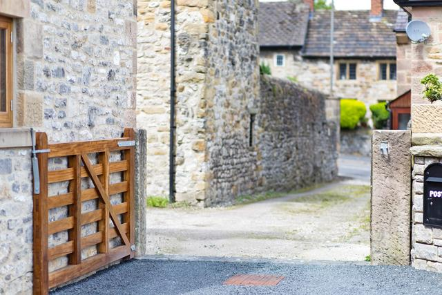 Access to the property is down a short narrow lane (approx 3 metres wide) and through a five bar gate, this is also narrow so do check that the width of you car is less than 2.44m.