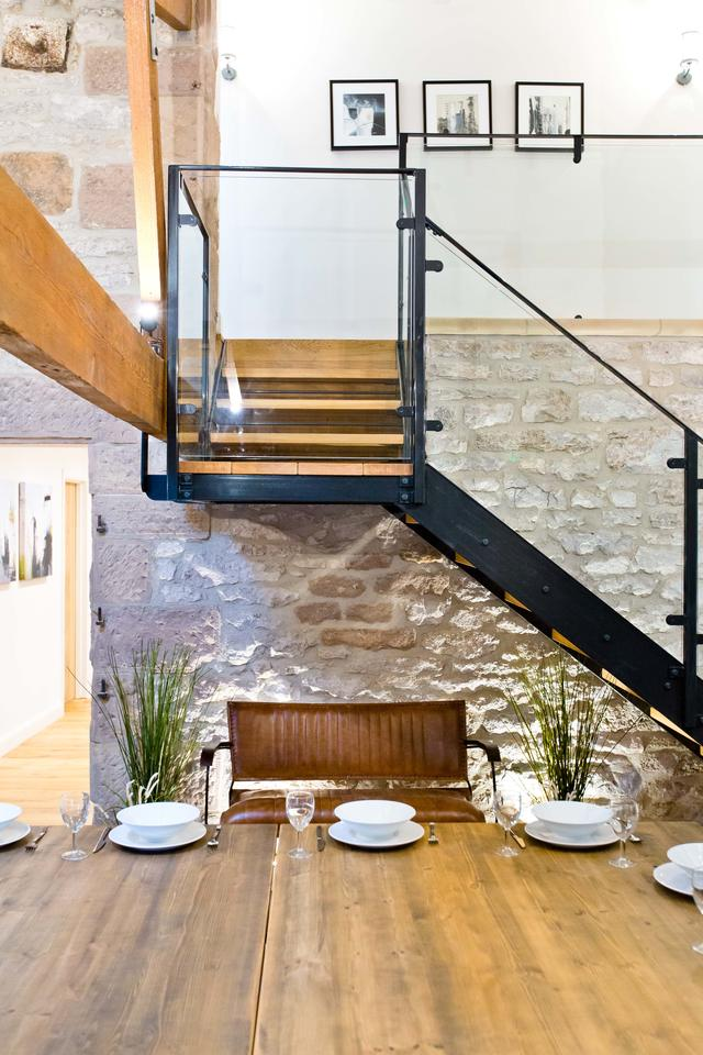 Glass staircase in the Barn