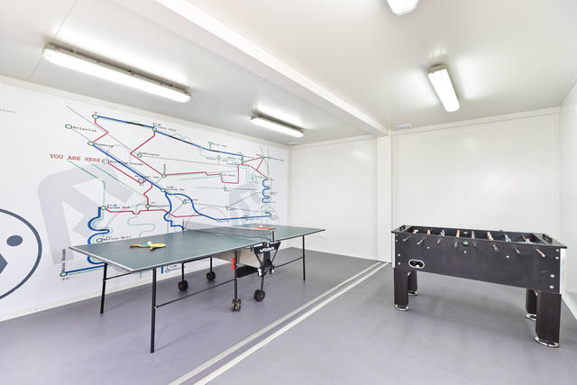 Inside the communal games room