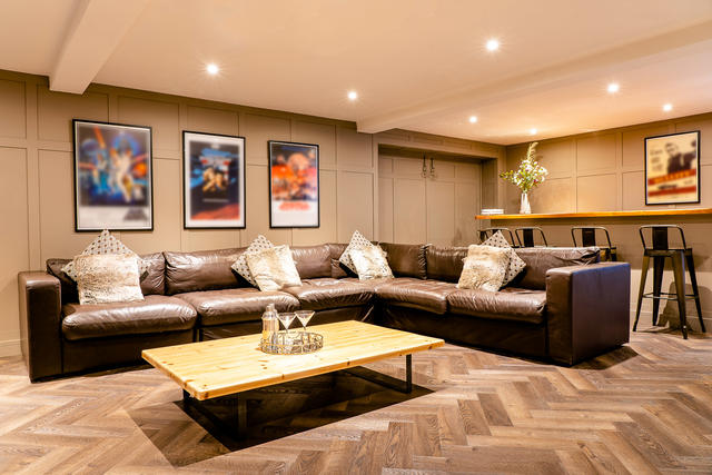 Leather seats and bar area in the games room